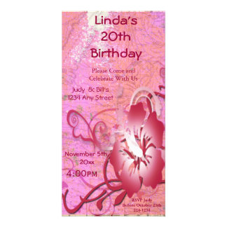 Tropical Flower Birthday Photo Card