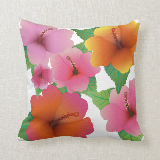 Tropical flower exotic hibiscus pillow