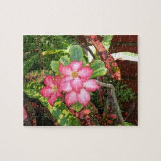 Tropical flower fiesta - vivid pink jigsaw puzzle