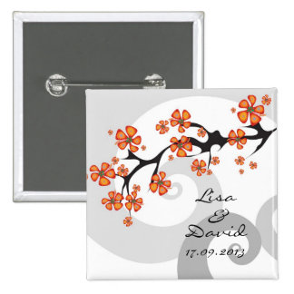 Tropical Flower Fusion Swirl Save-the-Date / Gift 2 Inch Square Button