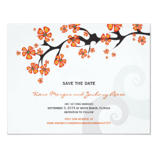 Tropical Flower Fusion Swirls Chic Save The Date Card