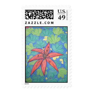 Tropical Flower Happy Postage Stamp