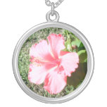 Tropical Flower Round Pendant Necklace