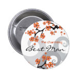 Tropical Flower Swirl Wedding Name Tag Button