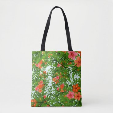 Beach Themed Tropical flower tote