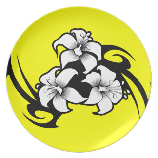 TROPICAL FLOWER VECTOR TATTOO GRAPHICS TOUGH LOGO DINNER PLATES