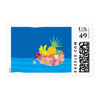 Tropical Flower Waves Postage