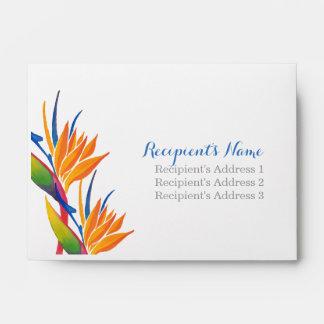 Tropical flower wedding invitation envelope