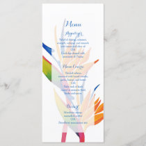 Tropical flower wedding menu