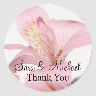 Tropical Flower Wedding Thank You Label Classic Round Sticker