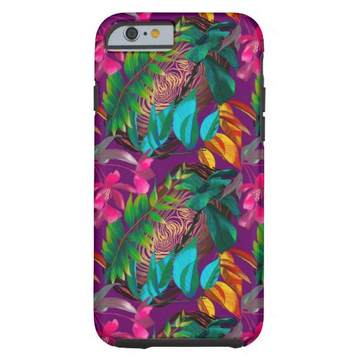 Tropical flowers and animal patterns tough iPhone 6 case