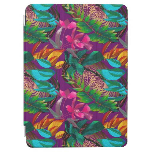 Tropical flowers and animal patterns iPad air cover