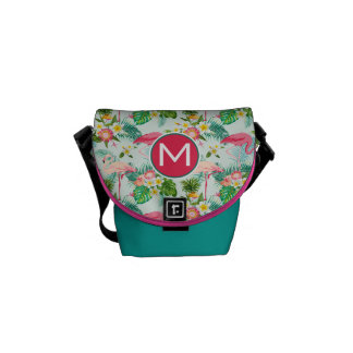 Tropical Flowers And Birds   Add Your Initial Courier Bag