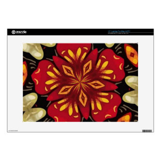 "Tropical Flowers And Butterflies Mandala Decals For 15"" Laptops"