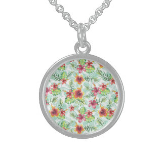 Tropical Flowers and Foliage Sterling Silver Necklace