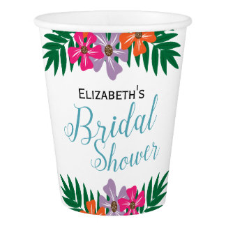 Tropical Flowers and Palm Branches Bridal Shower Paper Cup