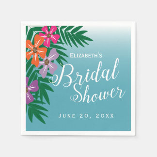 Tropical Flowers and Palm Branches Bridal Shower Paper Napkin