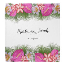 Tropical Flowers and Palm Leaves Calligraphy Bandana