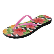 Tropical flowers and skin are animal. Summer patte Flip Flops