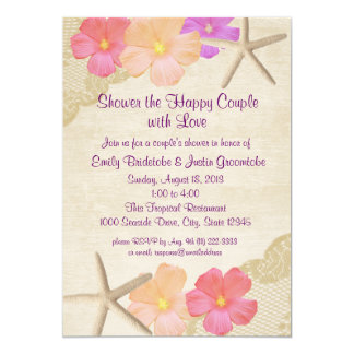 Tropical Flowers and Starfish Couple's Shower Card