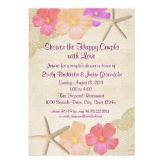 Tropical Flowers and Starfish Couple's Shower Invitation