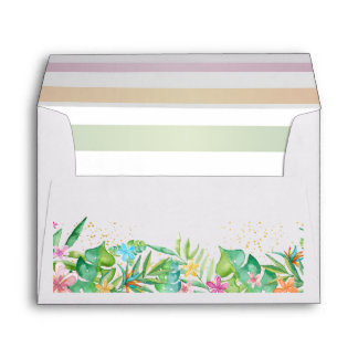Tropical Flowers and Stripes Envelope
