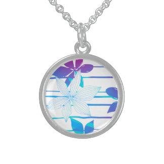Tropical flowers and stripes sterling silver necklace