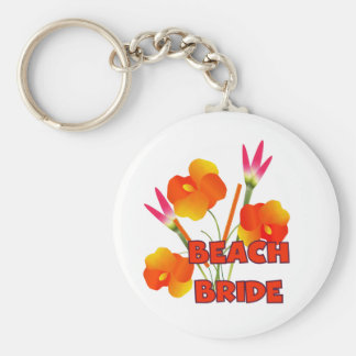 Tropical Flowers Beach Bride Keychain