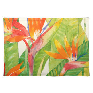 Tropical Flowers | Bird of Paradise Cloth Placemat