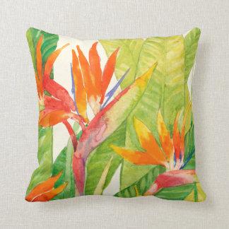 Tropical Flowers | Bird of Paradise Throw Pillow
