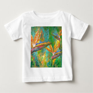 Tropical Flowers Birds Of Paradise Painting Baby T-Shirt