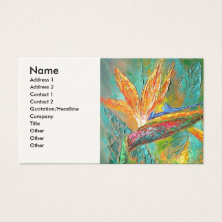 Tropical Flowers Birds Of Paradise Painting Business Card