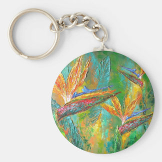 Tropical Flowers Birds Of Paradise Painting Key Chains