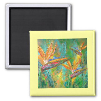 Tropical Flowers Birds Of Paradise Painting Magnet