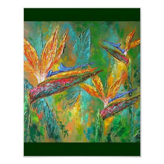 Tropical Flowers Birds Of Paradise Painting Poster