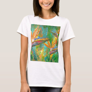 Tropical Flowers Birds Of Paradise Painting T-Shirt