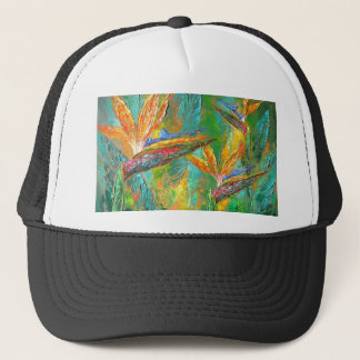 Tropical Flowers Birds Of Paradise Painting Trucker Hat