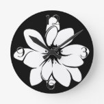Tropical Flowers Black and White Clock