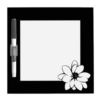 Tropical Flowers Black and White Dry Erase Whiteboard
