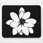 Tropical Flowers  Black and White Mousepad