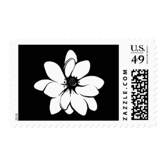 Tropical Flowers Black and White Postage Stamp