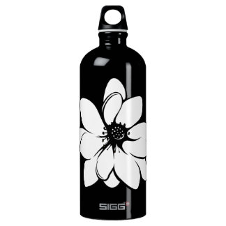 Tropical Flowers  Black and White SIGG Traveler 1.0L Water Bottle