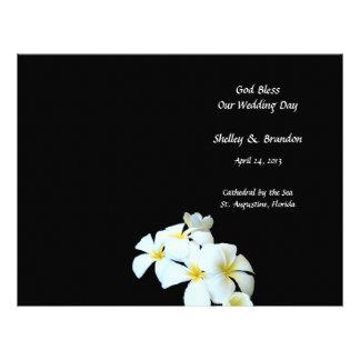 Tropical Flowers Black Wedding Program Cover Letterhead