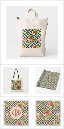 Tropical flowers black & white geometric pattern