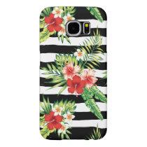 Tropical Flowers & Black & White Stripes Pattern Samsung Galaxy S6 Case