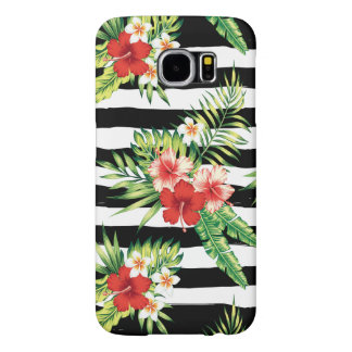 Tropical Flowers & Black & White Stripes Pattern Samsung Galaxy S6 Case