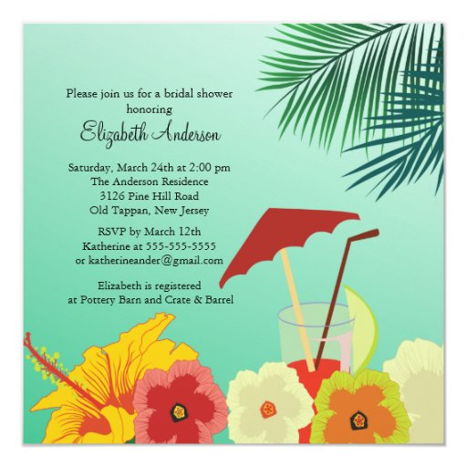 Tropical Flowers Bridal Shower Invitation