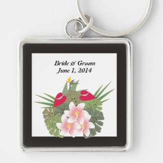 Tropical Flowers Bride & Groom Keychain