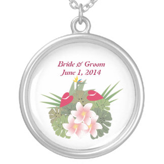 Tropical Flowers Bride & Groom Necklace