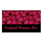 Tropical Flowers Business Card (pink&black)